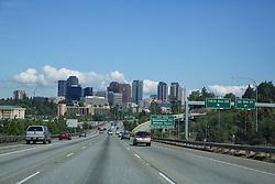 United States, Washington, Bellevue, city skyline viewed from I405 highway