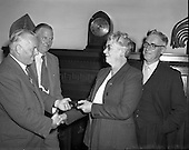 1958 - 07/07 Minister for Posts and Telegraphs makes presentation to Pearse St. Post Mistress