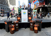Ron Gonen, right, Deputy Commissioner Sustainability, Department of Sanitation New York (DSNY), Scott Lazarczyk, center, of The Glad Products Company, and Vito Turso, of DSNY, announce their partnership in support of New York City's expanding curbside collection of organic materials, Thursday, April 10, 2014 in New York.  Visit wasteinfocus.com to learn what you can do to limit your landfill waste. (Photo by Diane Bondareff/Invision for The Glad Products Company/AP Images)