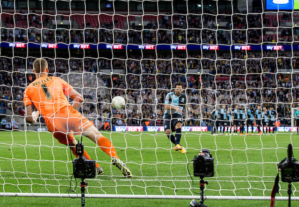 Sam Wood of Wycombe Wanderers see's his penalty saved by Goalkeeper Daniel Bentley of Southend United during the Sky Bet League 2 Play-Off Final match between Southend United and Wycombe Wanderers at Wembley Stadium, London, England on 23 May 2015. Photo by Liam McAvoy.