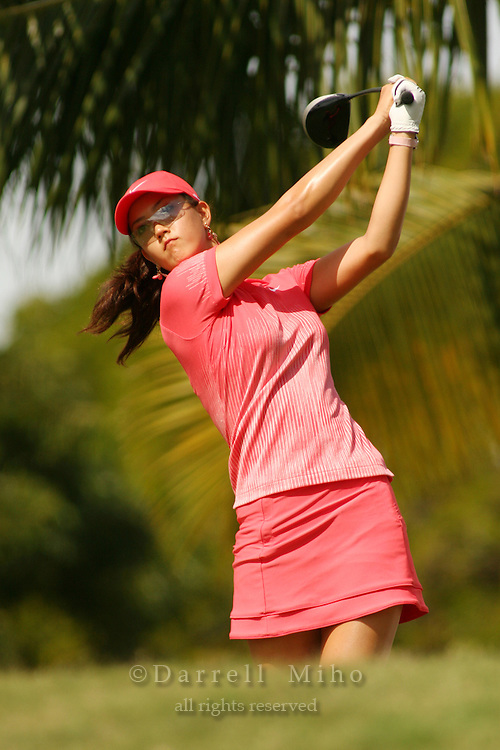 Feb 25, 2006; Kapolei, HI, USA; Michelle Wie tees off during the final round at the inaugural LPGA Fields Open at Ko Olina Resort. ..Photo Credit: Darrell Miho .Copyright © 2006 Darrell Miho