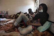 Libya, Zawiya District: migrant women captured at the sea as they were attempting to reach Italy are seen at Surman detention center on May 13, 2015. Alessio Romenzi
