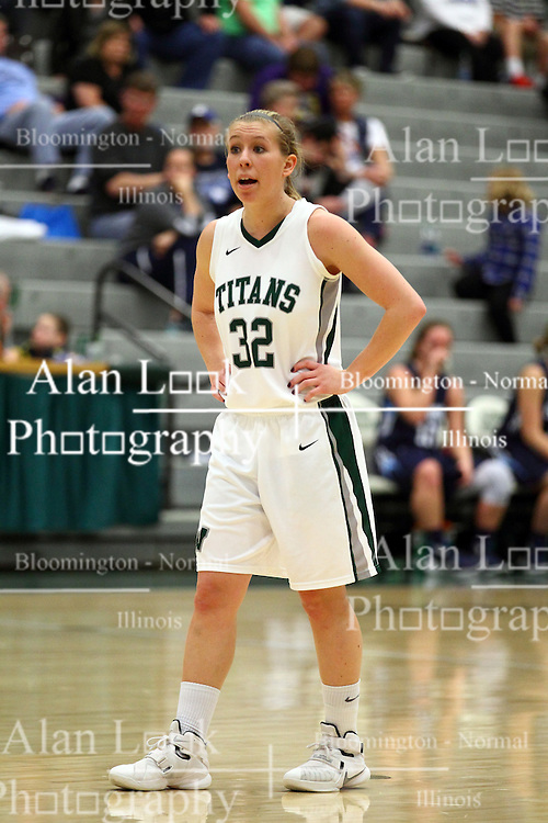 20 February 2016:  Samantha Ellsworth during an NCAA women's basketball game between the Elmhurst Bluejays and the Illinois Wesleyan Titans in Shirk Center, Bloomington IL