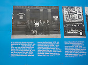 Historic information board and photo about the Royal Hotel, Wellington Street, Hull, Yorkshire, England
