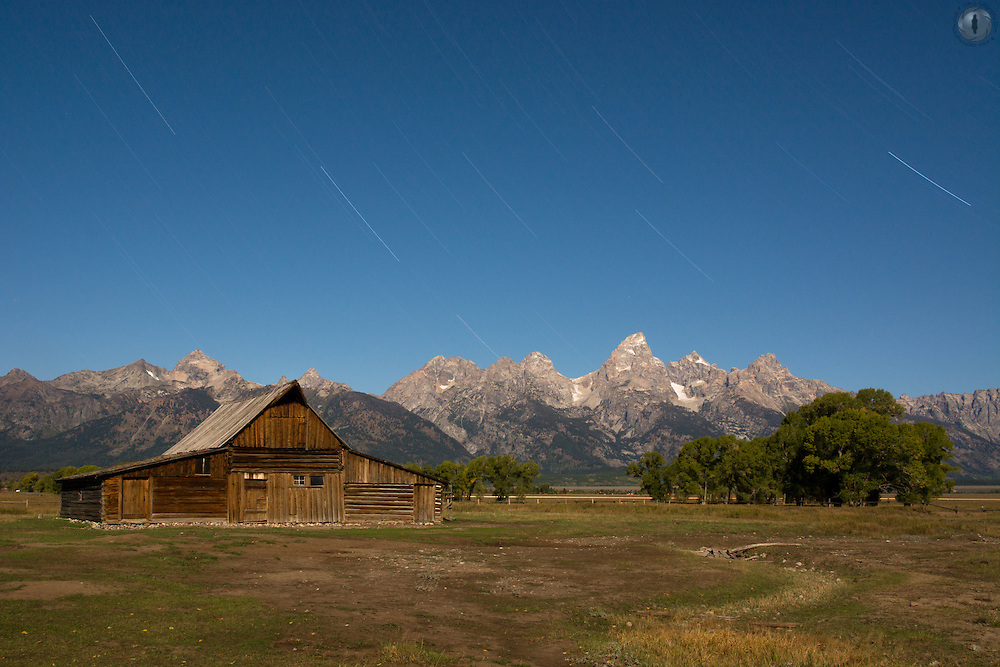 Startrails on a full moon night at the Mormon barns. Gallery: Yellowstone.