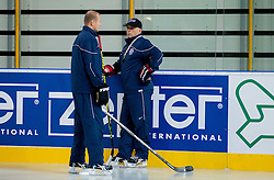 Matjaz Kopitar, head coach (R) and Nik Zupancic, assistant coach during practice session of Slovenian National Ice Hockey team first time in Arena Stozice before 2012 IIHF World Championship DIV I Group A in Slovenia, on April 13, 2012, in Arena Stozice, Ljubljana, Slovenia. (Photo by Vid Ponikvar / Sportida.com)