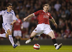 Manchester, England - Tuesday, March 13, 2007: Manchester United's Wayne Rooney scores the opening goal against a Europe XI during the UEFA Celebration Match at Old Trafford. (Pic by David Rawcliffe/Propaganda)