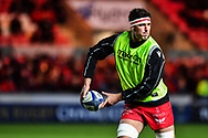 Scarlets' Lewis Rawlins during the pre match warm up<br /> <br /> Photographer Craig Thomas/Replay Images<br /> <br /> European Rugby Champions Cup Round 5 - Scarlets v Toulon - Saturday 20th January 2018 - Parc Y Scarlets - Llanelli<br /> <br /> World Copyright &copy; Replay Images . All rights reserved. info@replayimages.co.uk - http://replayimages.co.uk