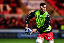 Scarlets' Lewis Rawlins during the pre match warm up<br /> <br /> Photographer Craig Thomas/Replay Images<br /> <br /> European Rugby Champions Cup Round 5 - Scarlets v Toulon - Saturday 20th January 2018 - Parc Y Scarlets - Llanelli<br /> <br /> World Copyright © Replay Images . All rights reserved. info@replayimages.co.uk - http://replayimages.co.uk