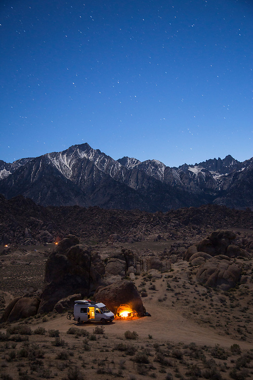 Van camping in the Alabama Hills, California.