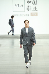 June 8, 2019 - London, England, United Kingdom - A model presents a new Spring/Summer 2020 HLA x AEX by JD.COM collection during London Fashion Weak Men's in the old Truman's Brewery show space in London on the June 8, 2019. (Credit Image: © Dominika Zarzycka/NurPhoto via ZUMA Press)