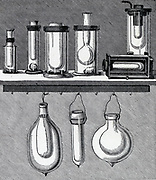 James Dewar's ( 1842-1923) inventor of the vacuum flask.  His old flasks, top, and new flasks. From his 'Liquid Atmospheric Air', London, 1893.