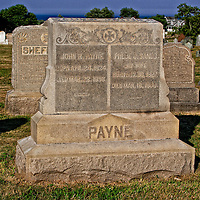 Tombstone of John R. Payne and Phoebe Sands Payne at cemetary on Block Island, Rhode Island