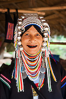 Akha hill tribe woman with traditional headdress, Tha Ton, Chiang Mai Province, Thailand