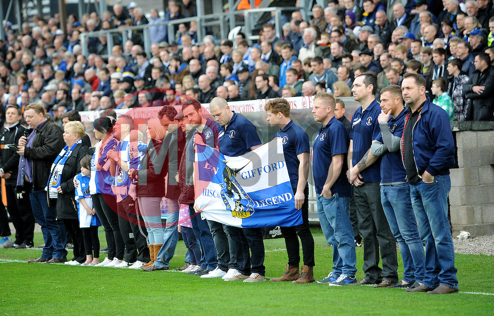 Family and friends of Ben Hiscox - Photo mandatory by-line: Neil Brookman/JMP - Mobile: 07966 386802 - 03/04/2015 - SPORT - Football - Bristol - Memorial Stadium - Bristol Rovers v Chester - Vanarama Football Conference