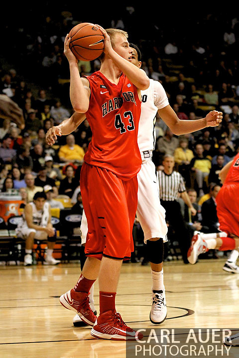 December 29, 2012: University of Hartford Hawks sophomore forward NATE SIKMA (43), the son of the NBA's Seattle Supersonic great Jack Sikma, in action in the NCAA Basketball game between the University of Hartford Hawks and the Colorado Buffaloes at the Coors Event Center in Boulder Colorado