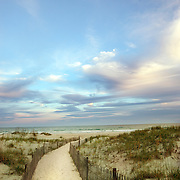 A public access path leads to the ocean at Wrightsville Beach, NC.