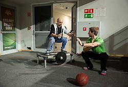 Jure Drakslar, assistant coach and Lojze Grcman of Siol Sportal prior to the practice session of basketball club Stelmet BC Zielona Gora (POL), on January 21, 2016 in CRS Hala Zielona Góra, Zielona Gora, Poland. Photo by Vid Ponikvar / Sportida