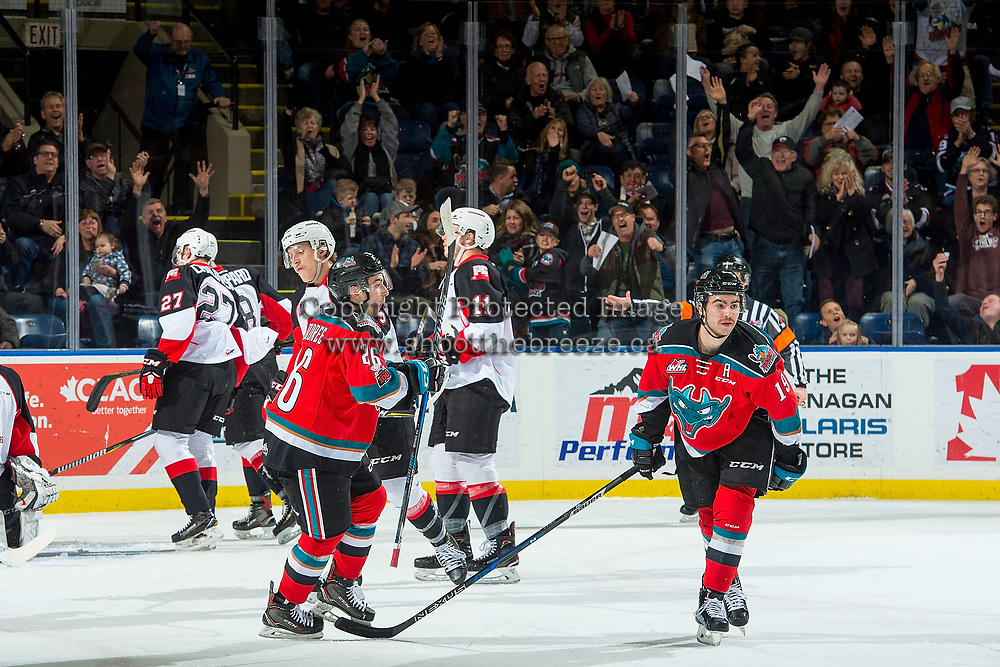 KELOWNA, CANADA - NOVEMBER 29: Liam Kindree #26 and Dillon Dube #19 of the Kelowna Rockets celebrate a goal against the Prince George Cougars on November 29, 2017 at Prospera Place in Kelowna, British Columbia, Canada.  (Photo by Marissa Baecker/Shoot the Breeze)  *** Local Caption ***