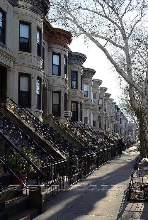 Looking down a row of Brooklyn Brownstones, New York.