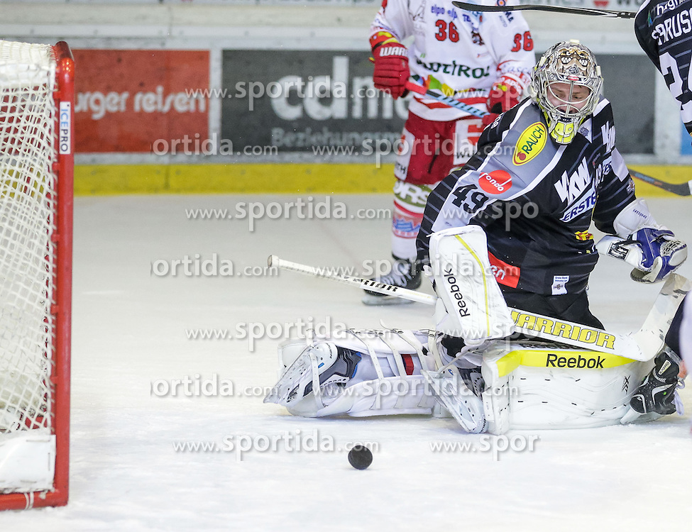 20.12.2015, Messestadion, Dornbirn, AUT, EBEL, Dornbirner Eishockey Club vs HCB Suedtirol, 33. Runde, im Bild Florian Hardy, (Dornbirner Eishockey Club, #49) // during the Erste Bank Icehockey League 33th round match between Dornbirner Eishockey Club and HCB Suedtirol at the Messestadion in Dornbirn, Austria on 2015/12/20, EXPA Pictures © 2015, PhotoCredit: EXPA/ Peter Rinderer