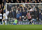 Goal scored by Billy Sharp of Sheffield United during the EFL Sky Bet Championship match between Leeds United and Sheffield Utd at Elland Road, Leeds, England on 27 October 2017. Photo by Paul Thompson.