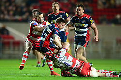 Jason Woodward of Bristol Rugby is challenged by Tom Savage of Gloucester Rugby - Mandatory by-line: Dougie Allward/JMP - 24/03/2017 - RUGBY - Ashton Gate - Bristol, England - Bristol Rugby v Gloucester Rugby - Aviva Premiership