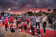 PIS Team Prepare In Transition At Dawn Prior To The Swim Start. Ironman Asia Pacific Championship Melbourne. Triathlon. Frankston And St Kilda, Melbourne, Victoria, Australia. 24/03/2013. Photo By Lucas Wroe