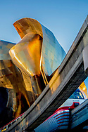 side of Experience Music Project building at Seattle Center and Monorail