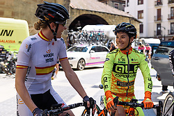 Anna Sanchis and Ane Santesteban catch up - Emakumeen Saria - Durango-Durango 2016. A 113km road race starting and finishing in Durango, Spain on 12th April 2016.