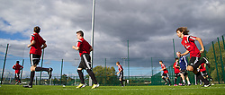 NEWPORT, WALES - Wednesday, September 24, 2014: Wales' players training at Dragon Park ahead of the Under-16's International Friendly match against France. (Pic by David Rawcliffe/Propaganda)
