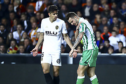 February 28, 2019 - Valencia, Spain - Gabriel Paulista  of Valencia CF (L) and Loren Moron of Real Betis Balompie  During Spanish King La Copa match between  Valencia cf vs Real Betis Balompie Second leg  at Mestalla Stadium on February 28, 2019. (Photo by Jose Miguel Fernandez/NurPhoto) (Credit Image: © Jose Miguel Fernandez/NurPhoto via ZUMA Press)