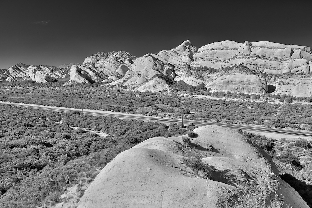 Mormon Rocks And Highway 138 - Elevated Northwest View - Infrared Black & White