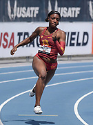 Jul 27, 2019; Des Moines, IA, USA; Anglerne Annelus (Angie Annelus) of Southern California wins women's 200m heat in 22.97 during the USATF Championships at Drake Stadium.