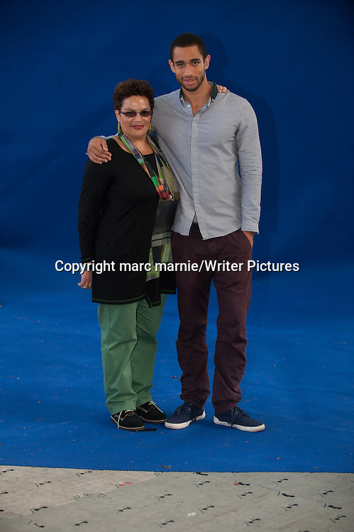 Jackie Kay with her son Matthew at Edinburgh International Book Festival 2013<br /> 16th August 2013<br /> <br /> Picture by marc marnie/Writer Pictures<br /> <br /> WORLD RIGHTS