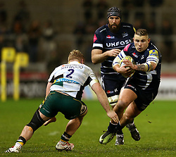Mark Jennings of Sale Sharks takes on Mikey Haywood of Northampton Saints - Mandatory by-line: Matt McNulty/JMP - 03/03/2017 - RUGBY - AJ Bell Stadium - Sale, England - Sale Sharks v Northampton Saints - Aviva Premiership