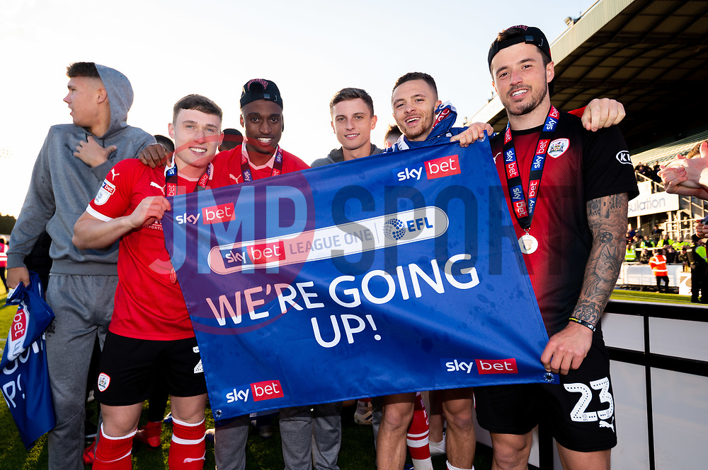 Callum Styles, Victor Adeboyejo of Barnsley, Jordan Williams of Barnsley and Daniel Pinillos of Barnsley celebrates after the final whistle of the match after Barnsley secure automatic promotion to the Sky Bet Championship - Mandatory by-line: Ryan Hiscott/JMP - 04/05/2019 - FOOTBALL - Memorial Stadium - Bristol, England - Bristol Rovers v Barnsley - Sky Bet League One