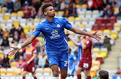 Lee Angol of Peterborough United celebrates scoring the opening goal of the game - Mandatory byline: Joe Dent/JMP - 07966386802 - 26/09/2015 - FOOTBALL - Coral Windows Stadium -Bradford,England - Bradford City v Peterborough United - Sky Bet League One