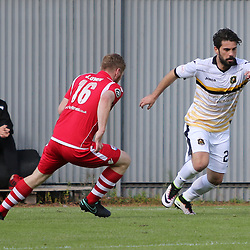 Dimitrios Froxylias takes on Jay Owen during the Dumbarton v Connah's Quay Nomads Irn Bru cup second round 2 September 2017<br /> <br /> <br /> <br /> <br /> (c) Andy Scott | SportPix.org.uk