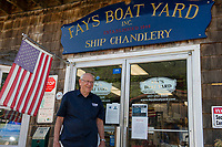 Merrill Fay outside of the ship chandlery at Fay's Boat Yard on Lake Winnipesaukee in Gilford, NH.  (Karen Bobotas/for New England Boating)