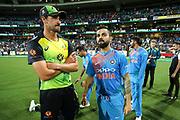 Virat Kohli talks to a dejected looking Mitchell Starc after India beat Australia. T20 international, Australia v India. Sydney Cricket Ground, NSW, Australia, 25 November 2018. Copyright Image: David Neilson / www.photosport.nz