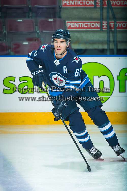 PENTICTON, CANADA - SEPTEMBER 8: Jake Kulevich #68 of Winnipeg Jets warms up against the Vancouver Canucks on September 8, 2017 at the South Okanagan Event Centre in Penticton, British Columbia, Canada.  (Photo by Marissa Baecker/Shoot the Breeze)  *** Local Caption ***