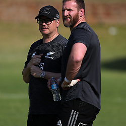 PRETORIA, SOUTH AFRICA - OCTOBER 05: Joe Locke (Media Manager) of the New Zealand (All Blacks) with Kieran Read (captain) of the New Zealand (All Blacks) during the Rugby Championship New Zealand All Blacks captain's run at St David's Marist Inanda 36 Rivonia Rd, Sandown, Sandton,on October 5, 2018 in Pretoria, South Africa. (Photo by Steve Haag/Getty Images)