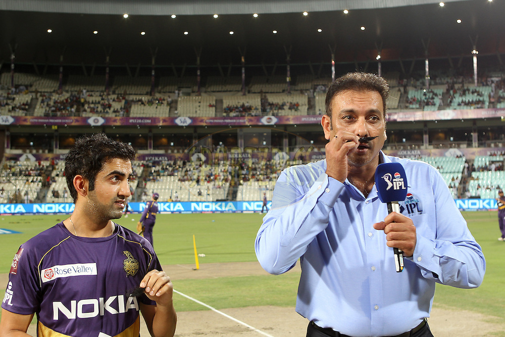 Ravi Shastri and Gautam Gambhir show their support for MARD (Men Against Rape and Discrimination) during match 35 of the Pepsi Indian Premier League between The Kolkata Knight Riders and the Kings XI Punjab held at the Eden Gardens Stadium in Kolkata on the 26th April 2013..Photo by Ron Gaunt-IPL-SPORTZPICS  ..Use of this image is subject to the terms and conditions as outlined by the BCCI. These terms can be found by following this link:..http://www.sportzpics.co.za/image/I0000SoRagM2cIEc