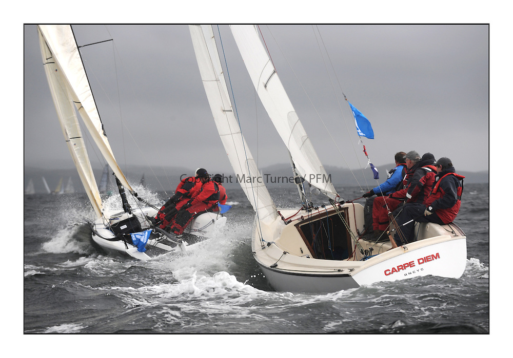 The Brewin Dolphin Scottish Series, Tarbert Loch Fyne..Windy and wet conditions for all fleets...GBR338 Carpe Diem RNCYC Sonar Neill Ross .