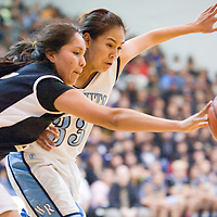 020213       Cable Hoover<br /> <br /> Window Rock Scout Shaniya Betsoi (33) and Chinle Wildcat Virgina Begay (45) chase a rebound Saturday at Window Rock High School.