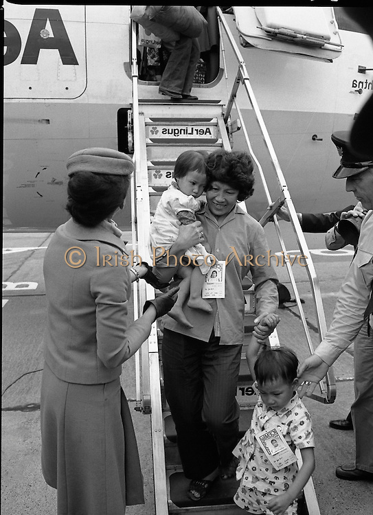 Vietnam Refugees Arrive .09/08/1979.08/09/1979.9th August 1979.Photograph shows some of the refugees coming off the plane at Dublin Airport.