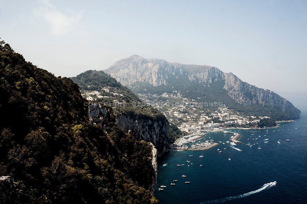 "04 August 2017, Capri Italy - A view of the port of ""Marina Grande"" from the top of Tiberio mountain of Capri Island."