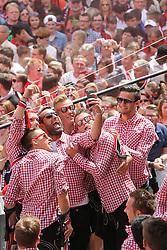 25.05.2015, Rathaus Platz, Ingolstadt, GER, 2. FBL, FC Ingolstadt 04, Aufstiegsfeier, im Bild Selfie - in der Mitte Torwart Ramazan Oezcan (Nr.1, FC Ingolstadt 04)- rechts davon Leon Jessen (Nr.2, FC Ingolstadt 04) und Stefan Lex (Nr.14, FC Ingolstadt 04) // during the 2nd German Bundesliga championship party of FC Ingolstadt 04 at the Rathaus Platz in Ingolstadt, Germany on 2015/05/25. EXPA Pictures © 2015, PhotoCredit: EXPA/ Eibner-Pressefoto/ Strisch<br /> <br /> *****ATTENTION - OUT of GER*****