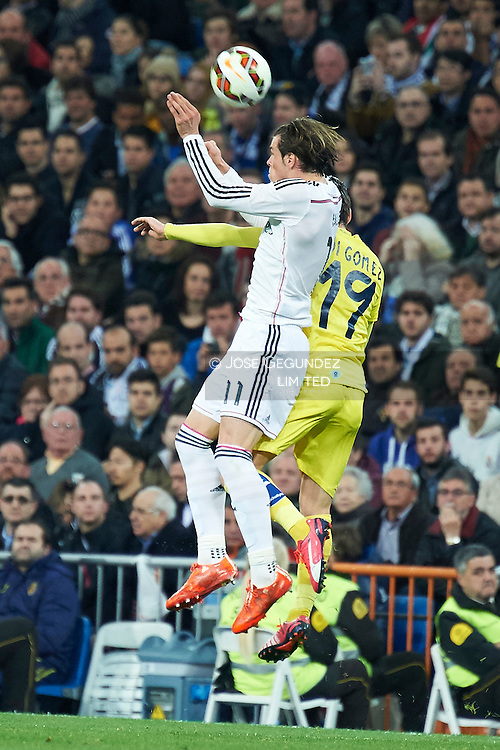 Gareth Bale and Moi Gomez during Real Madrid v Villarreal CF, La Liga football match at Santiago Bernabeu on March 1, 2015 in Madrid